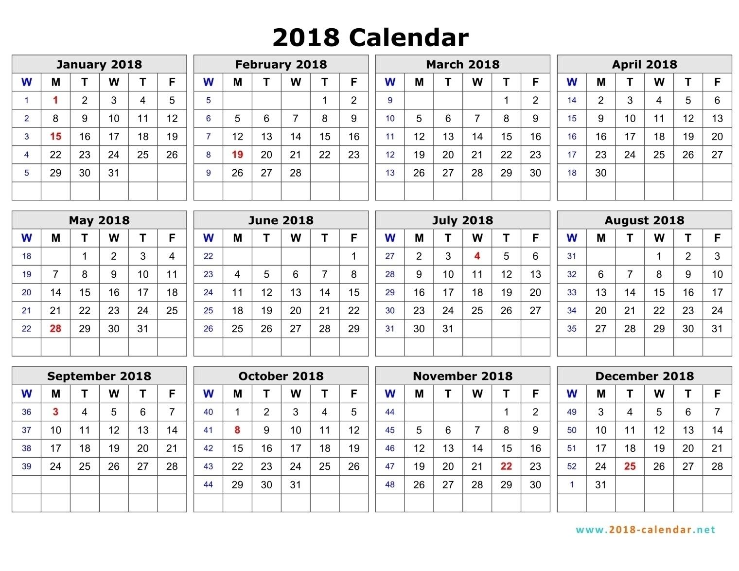 Calendar With Week Number 2018 Excel – Template Calendar Design