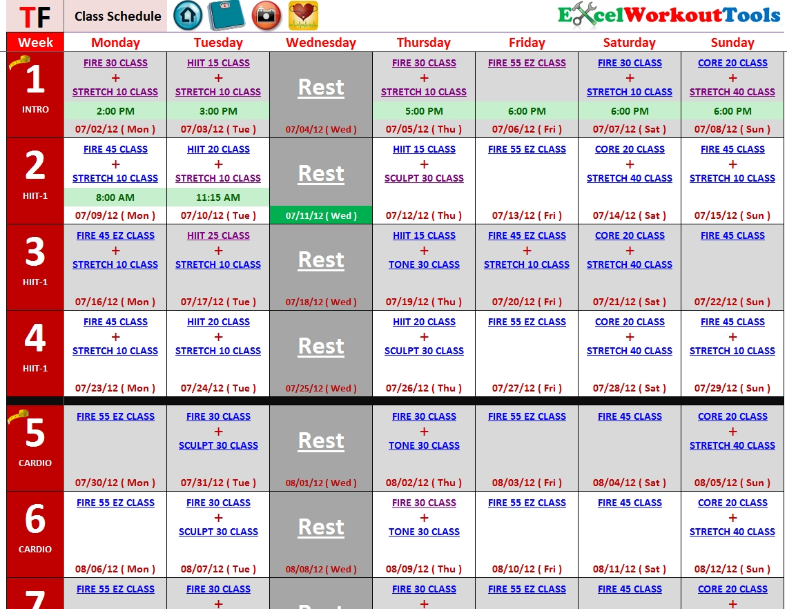 Chalean Extreme Calendar Schedule Turbo Fire | Sitedesignco