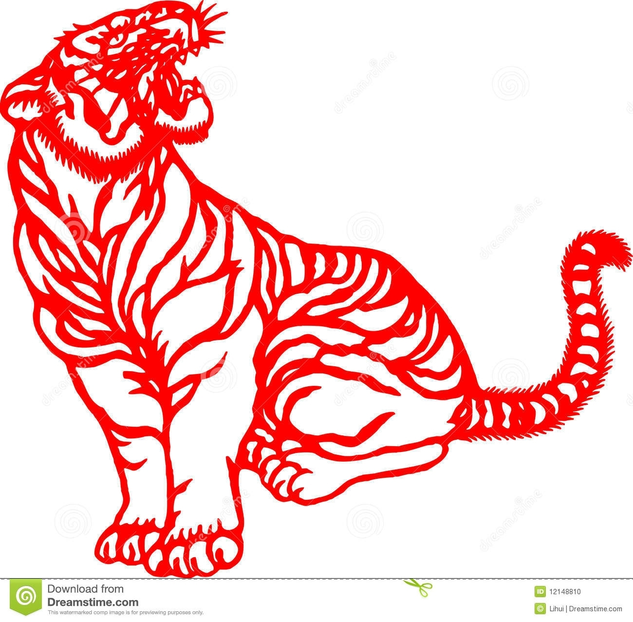 Chinese Zodiac Of Tiger Year Stock Illustration - Illustration Of