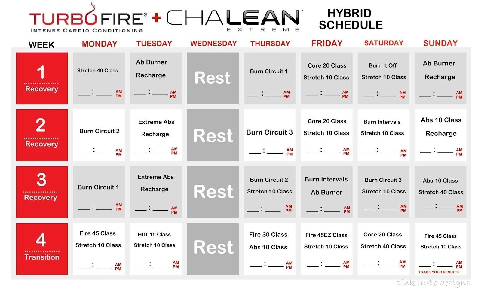 Clx Tf Schedule Month 1 20 Turbo Fire Calendar | Settoplinux