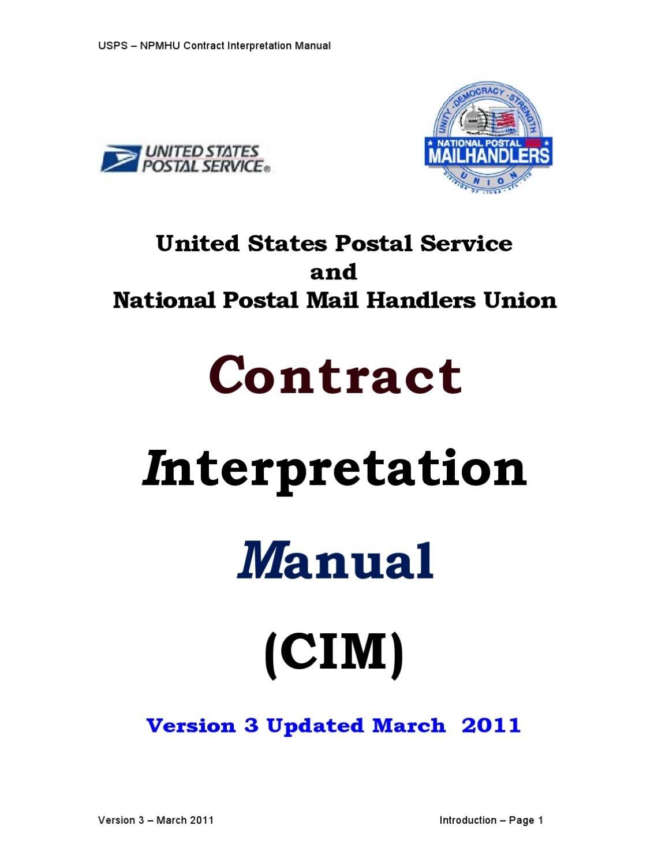 Contract Interpretation Manual (Cim) Version 3National Postal