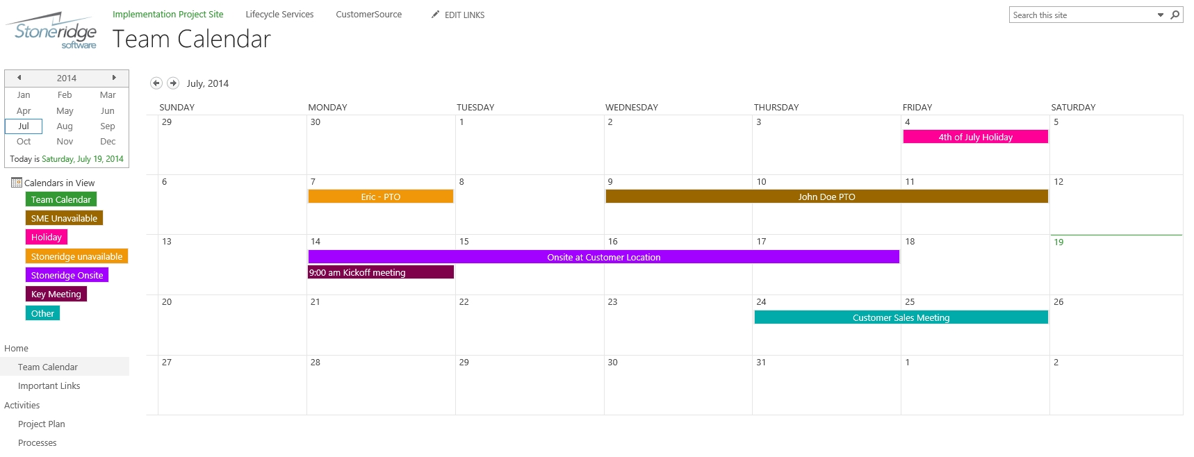 Creating A Color Coded Calendar In Sharepoint Online | Stoneridge