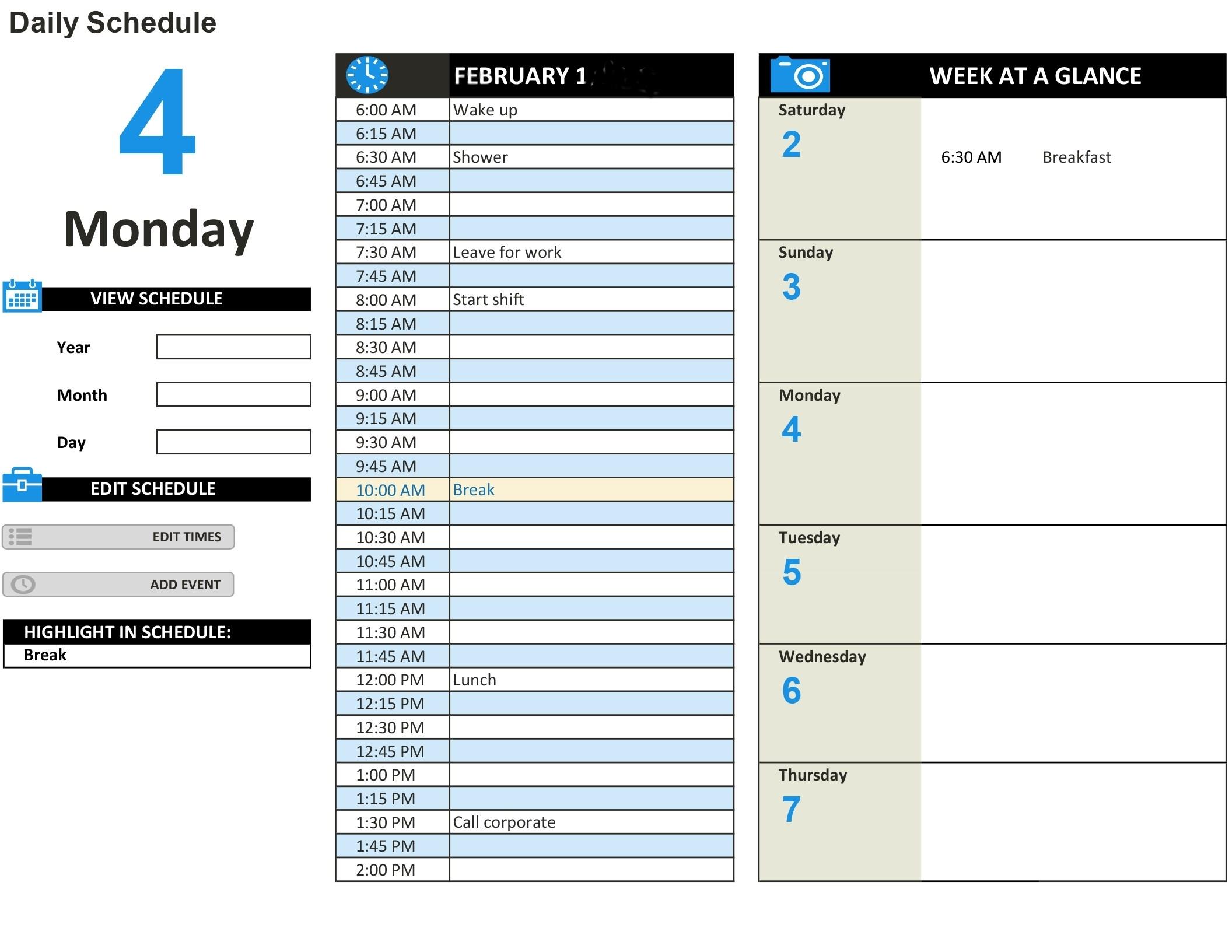 Day Work Week Schedule Template Schedules Office | Smorad