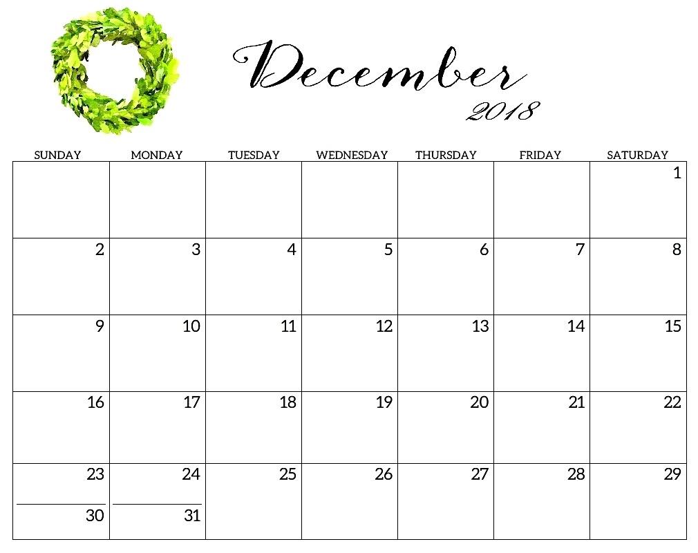 December 2018 Calendar Spanish Free Template Word