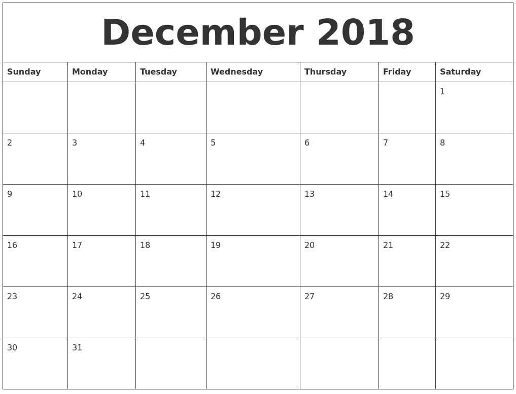 December 2018 Free Printable Calendar Templates