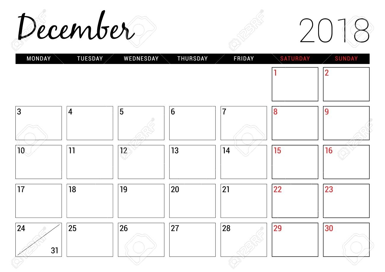 December 2018. Printable Calendar Planner Design Template. Week