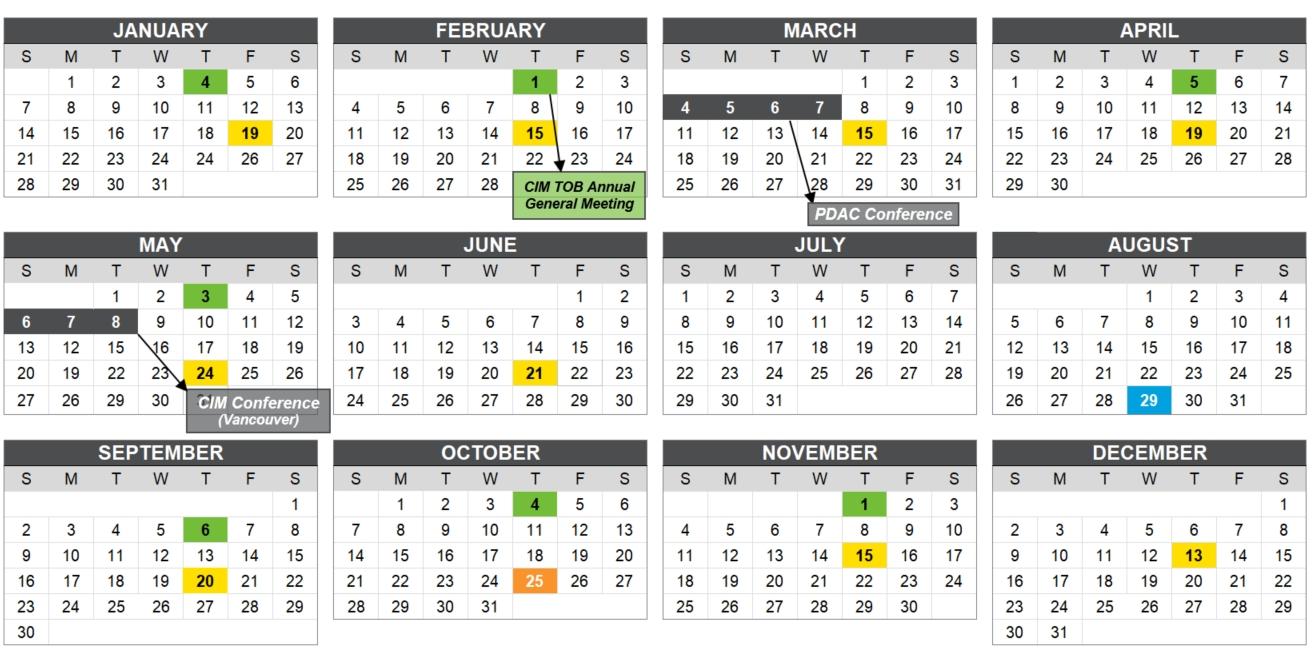 Events Calendar 2018 | Cim Toronto Branch