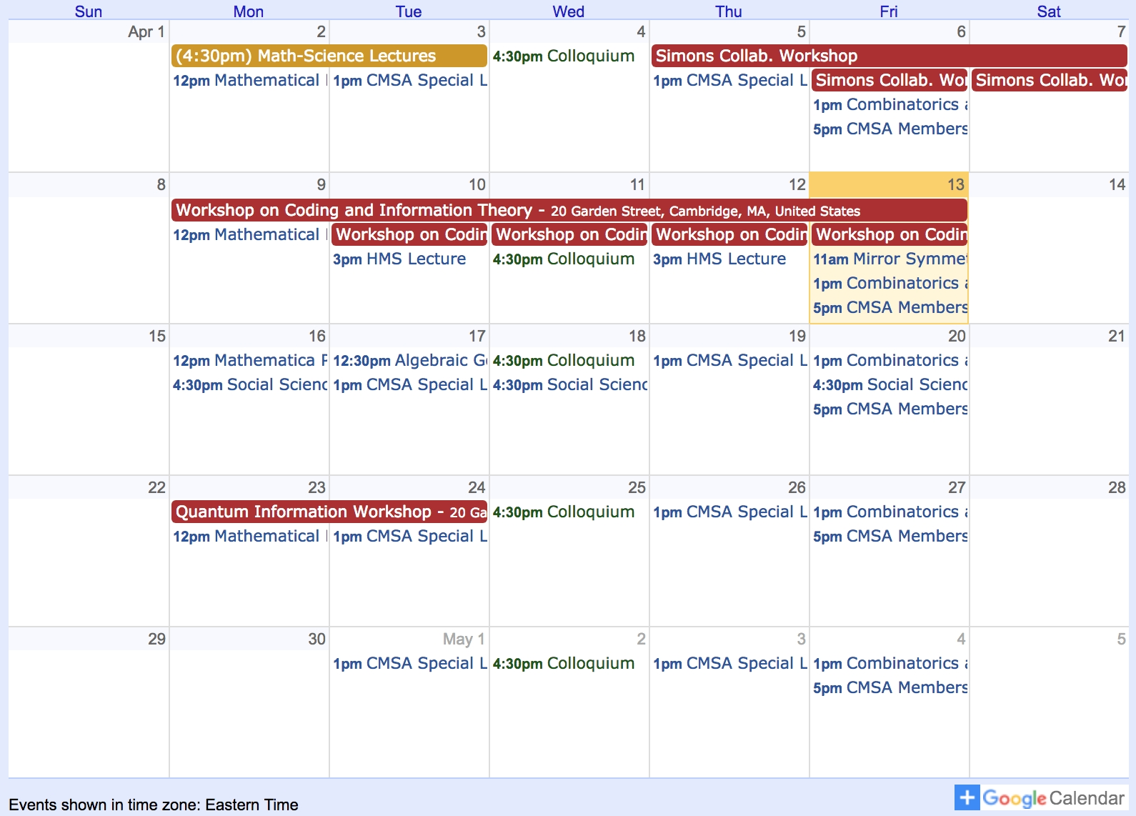 Events Calendar – Cmsa