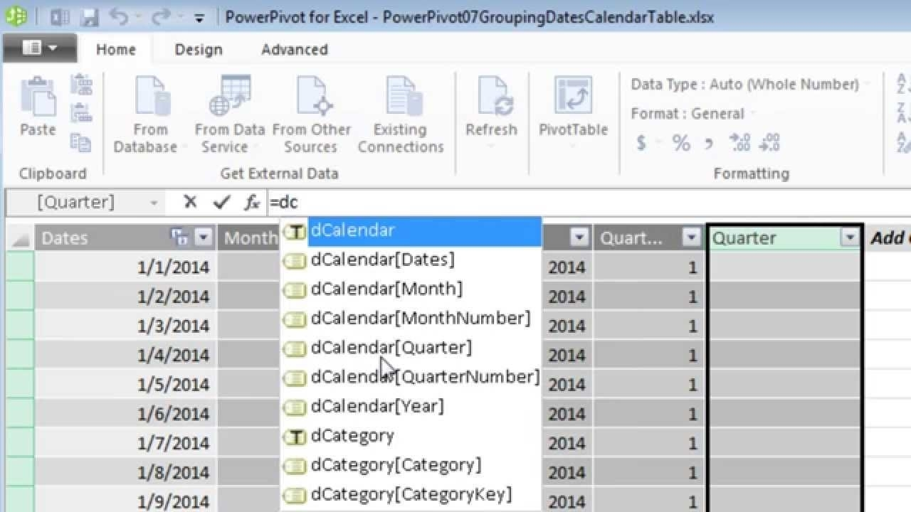 Excel 2013 Powerpivot Basics 7: Calendar Table Calculated Columns