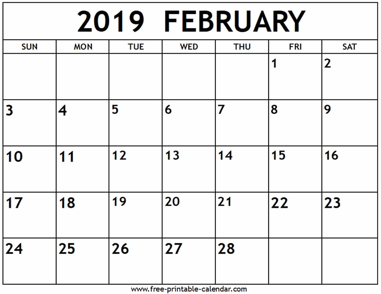 February 2019 Calendar - Free-Printable-Calendar