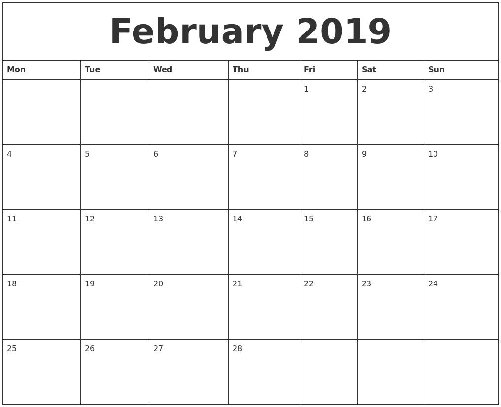 February 2019 Calendar To Print #february #february2019