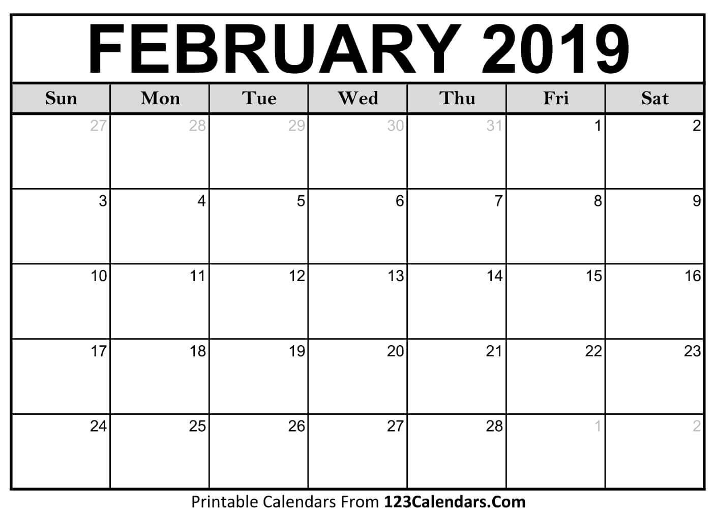 February 2019 Printable Calendar. Add Your Notes Quickly And Easily