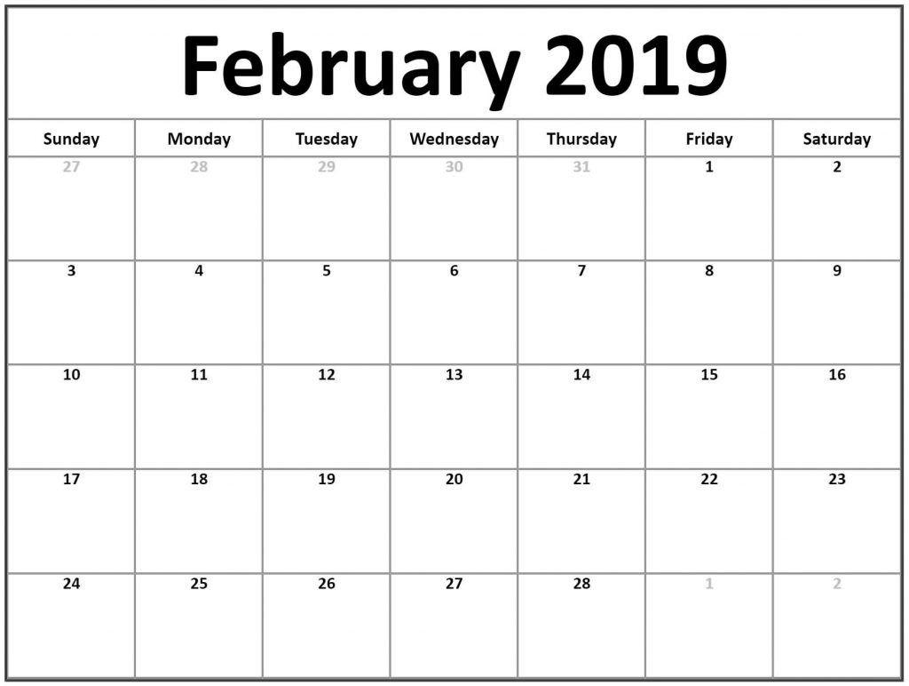 February Calendar 2019 Printable Template Pdf Free - February 2019