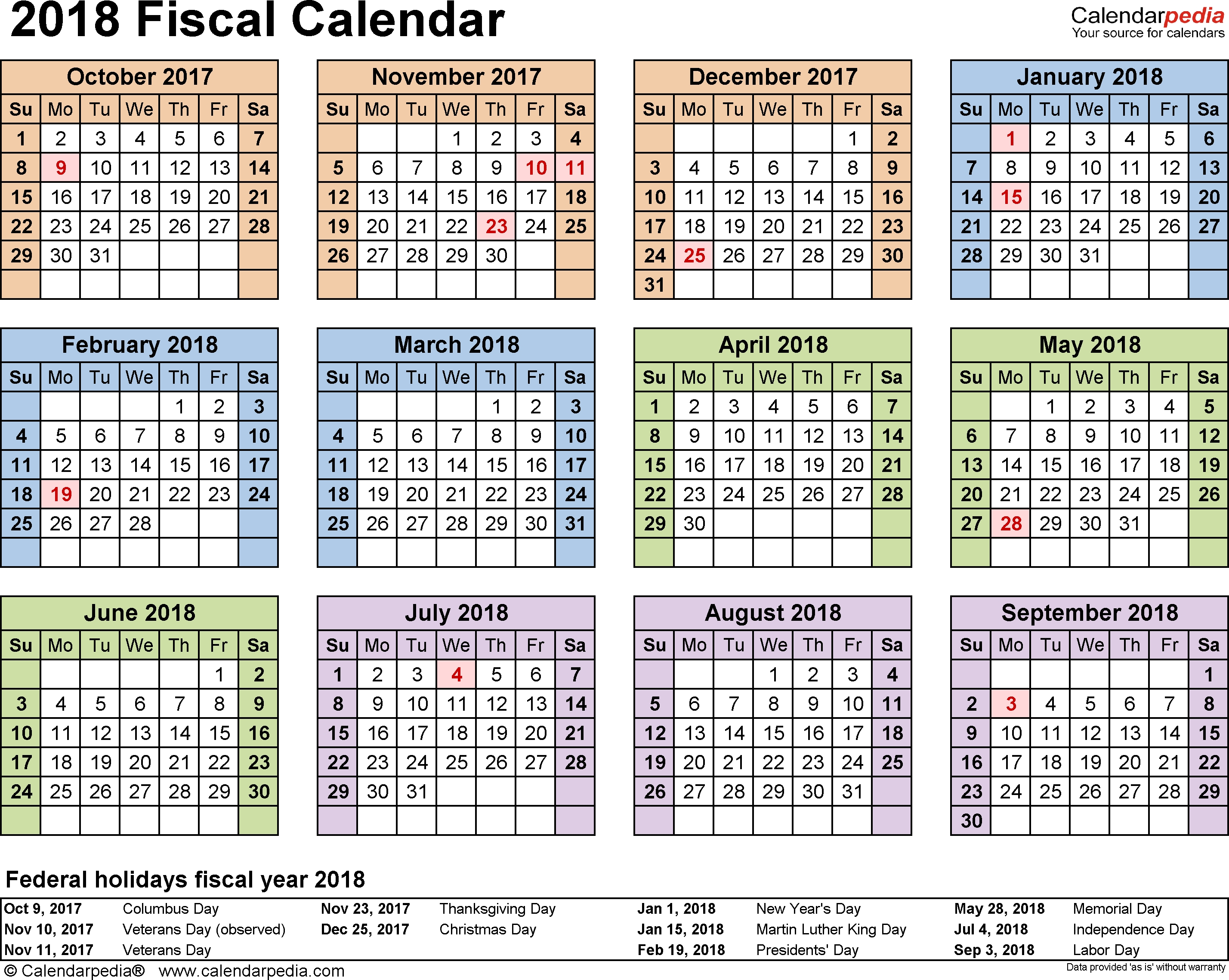 Fiscal Calendars 2018 As Free Printable Pdf Templates