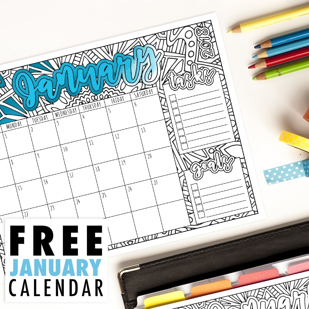 Free 2018 January Calendar | Printable Coloring Calendar Pdf