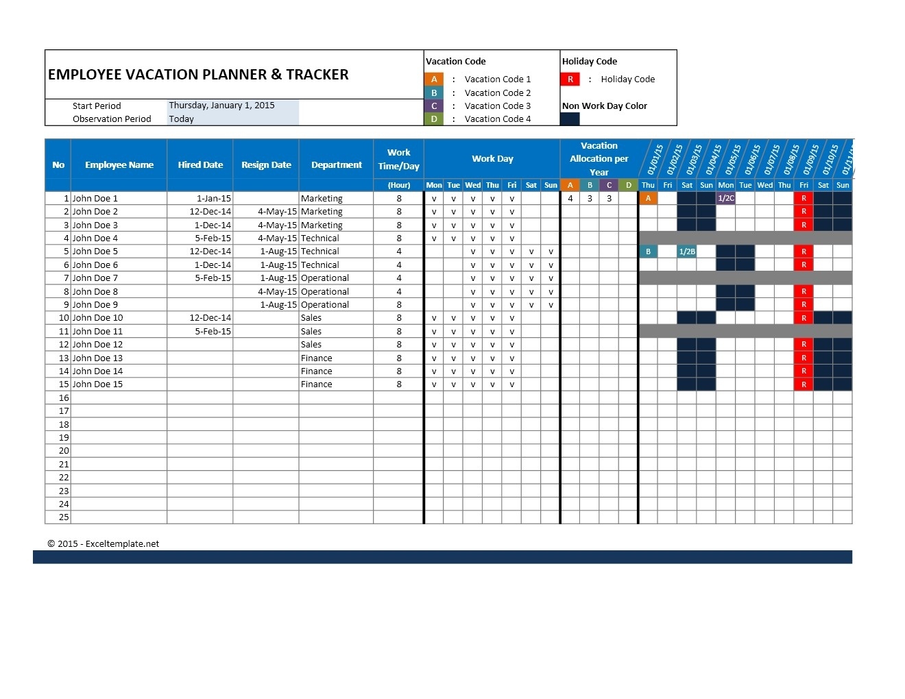 Free Employee Vacation Accrual Spreadsheet At Resource Calendar