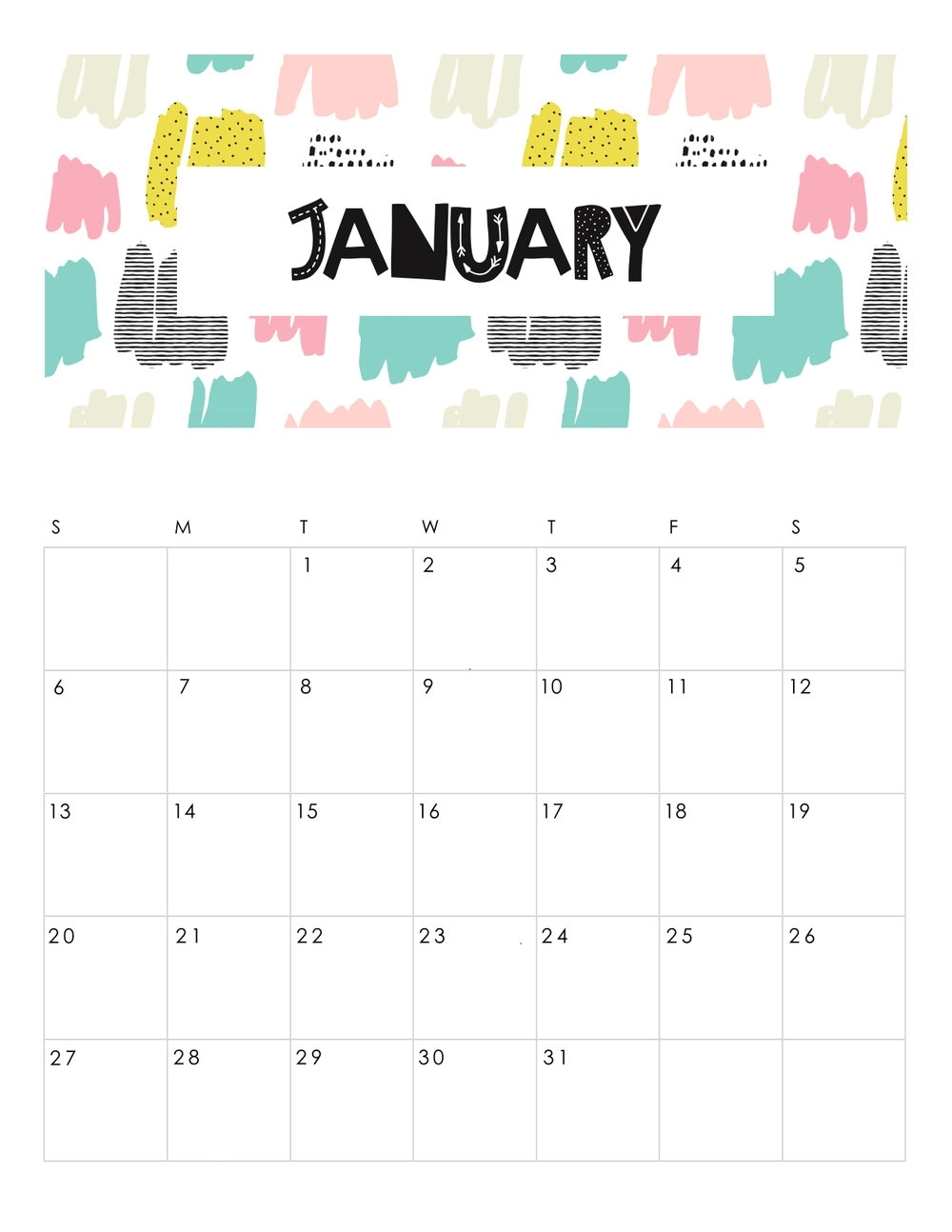 Free Printable Abstract Patterned 2019 Calendar. — Gathering Beauty