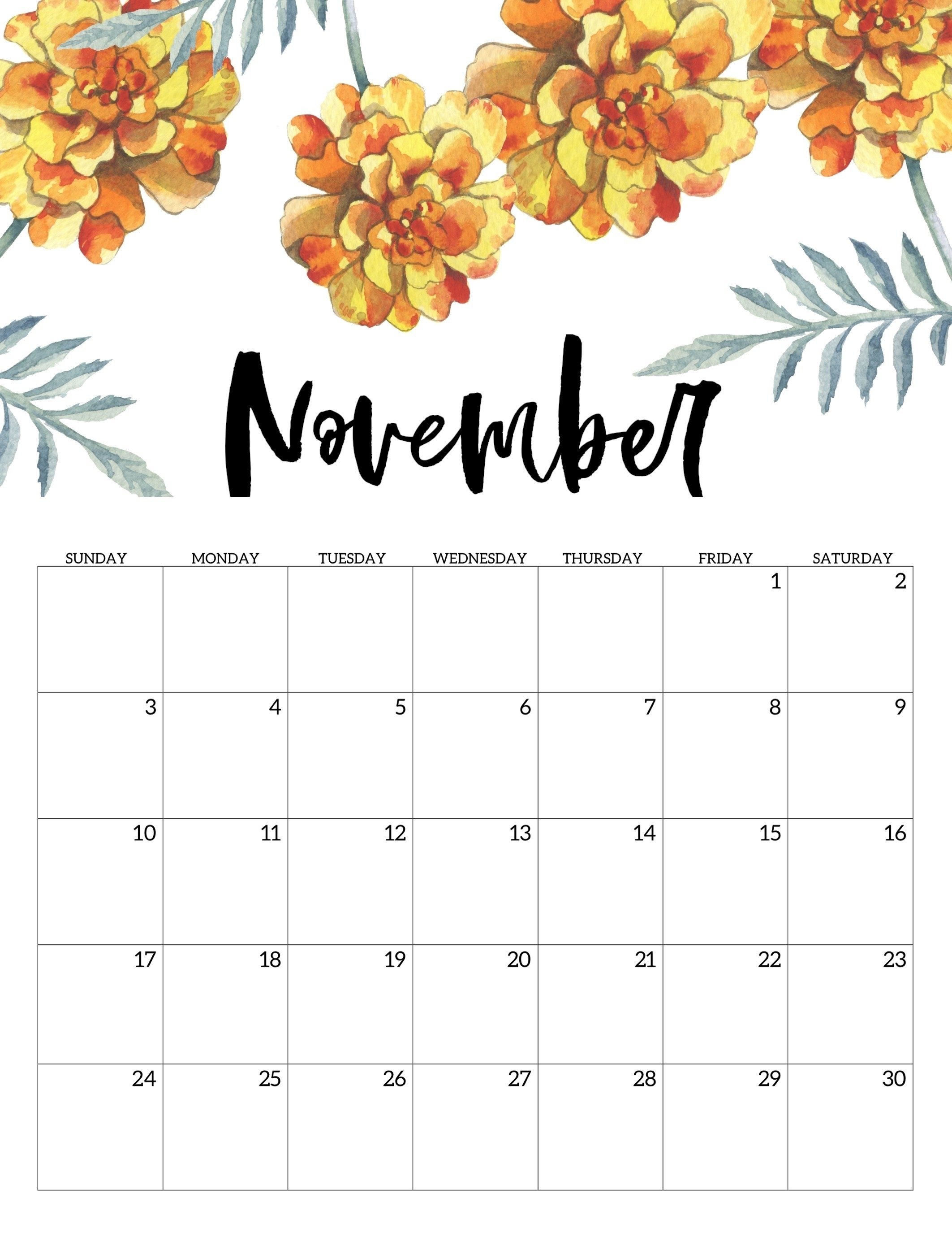 Free Printable Calendar 2019 – Floral – Paper Trail Design Monthly