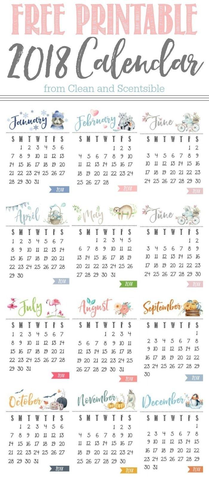 Free Printable Calendar   Ideas   Calendar, 2018 Calendar Printable