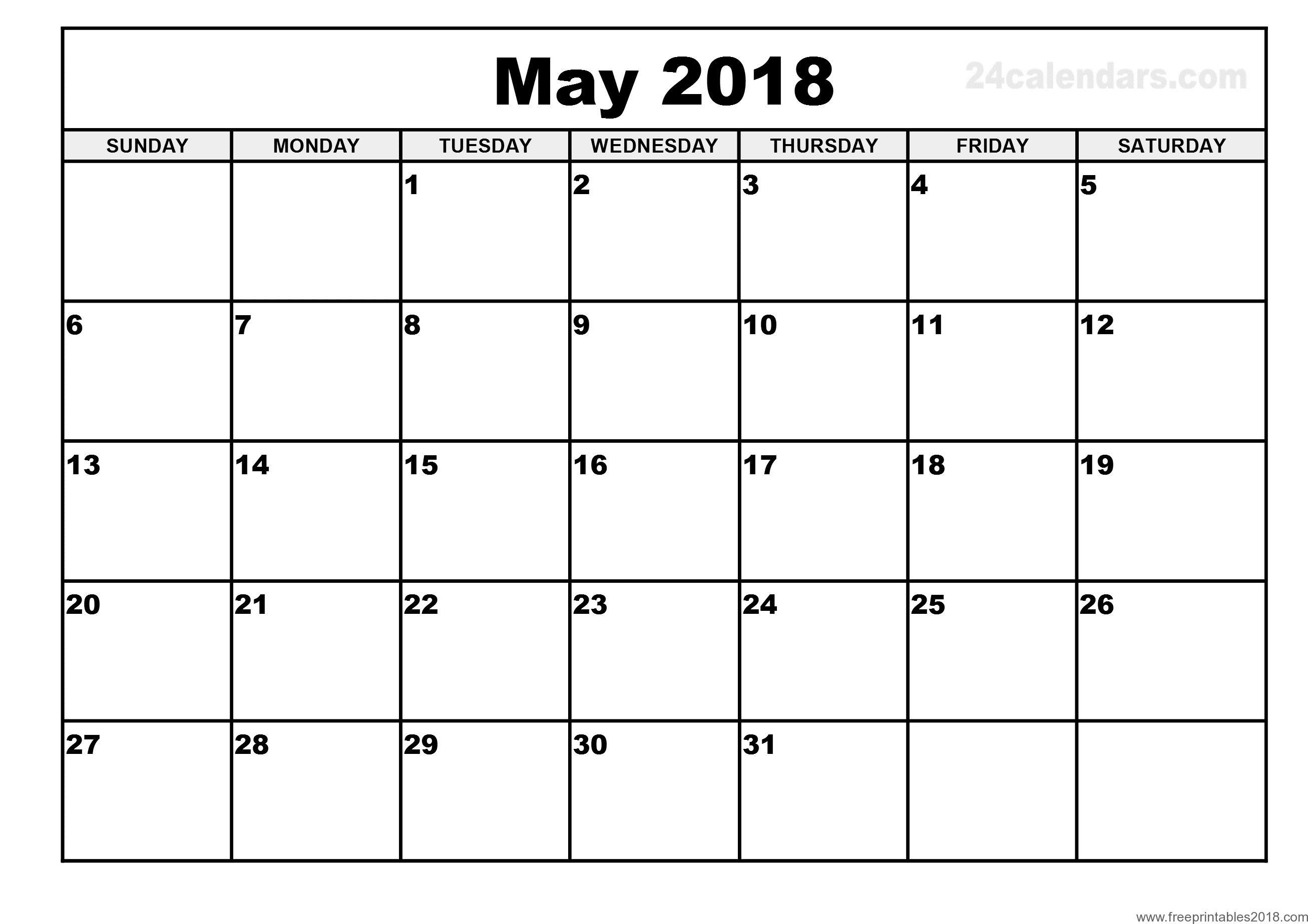 Free Printable Calendar May 2018   Free Printables 2019