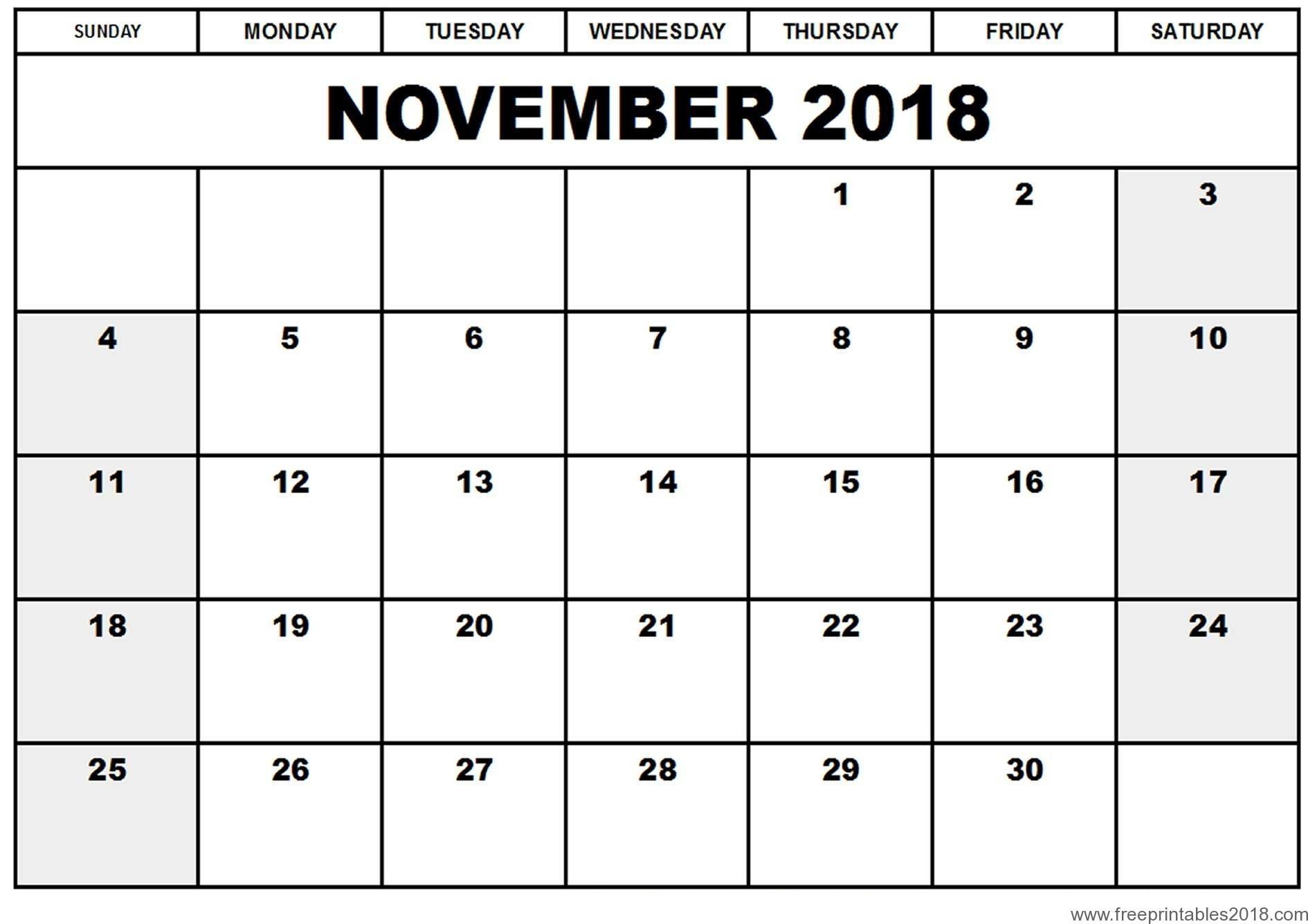 Free Printable Calendar November 2018 | Free Printables 2019