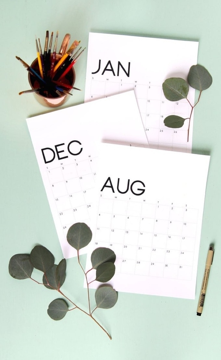 Free Printable Calendar Roundup | 2019 Monthly Templates | Curbly