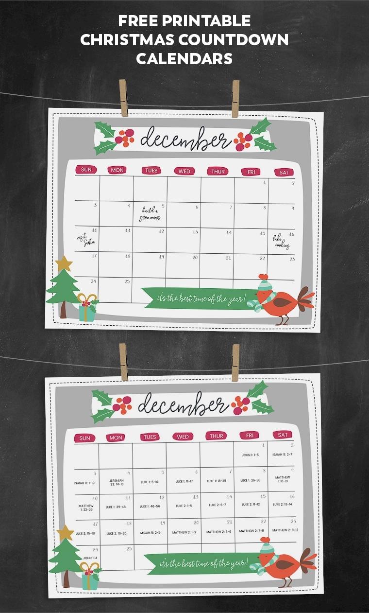 Free Printable Christmas Countdown Calendar For December | 2 Versions