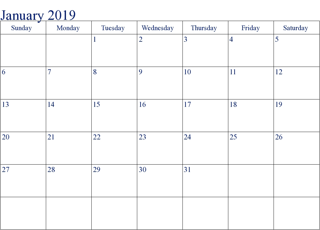 Free Printable Editable January Spanish Calendar 2019 Template