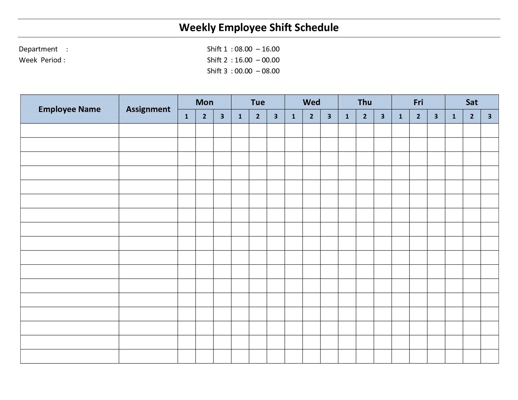 Free Printable Employee Work Schedules | Weekly Employee Shift
