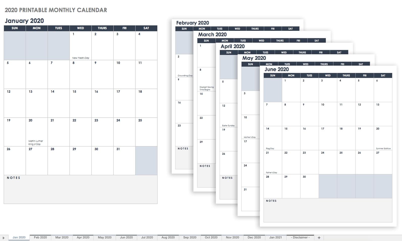 Free, Printable Excel Calendar Templates For 2019 & On   Smartsheet