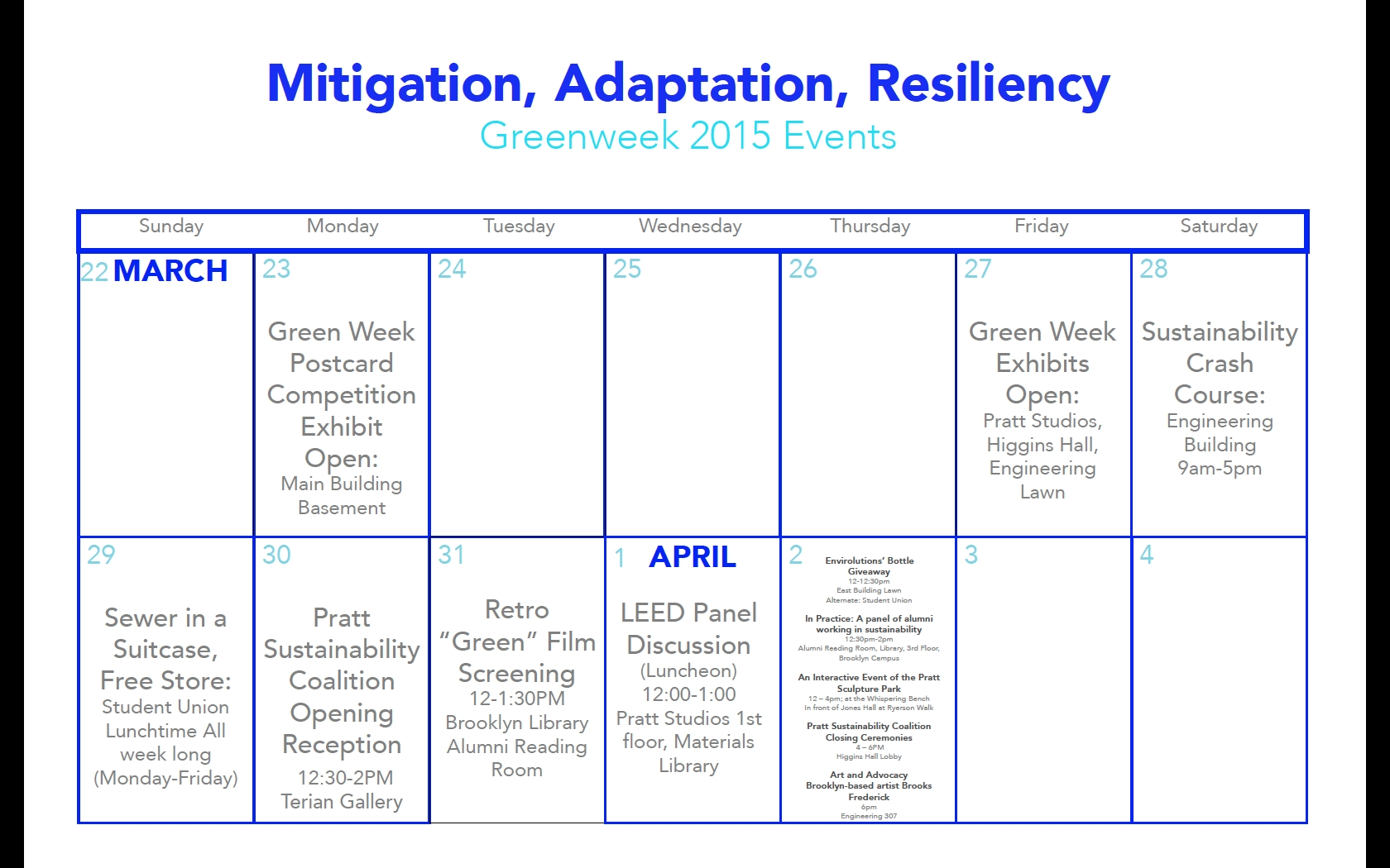 Green Week 2015 Calendar Of Events | Pratt Sustainability Coalition