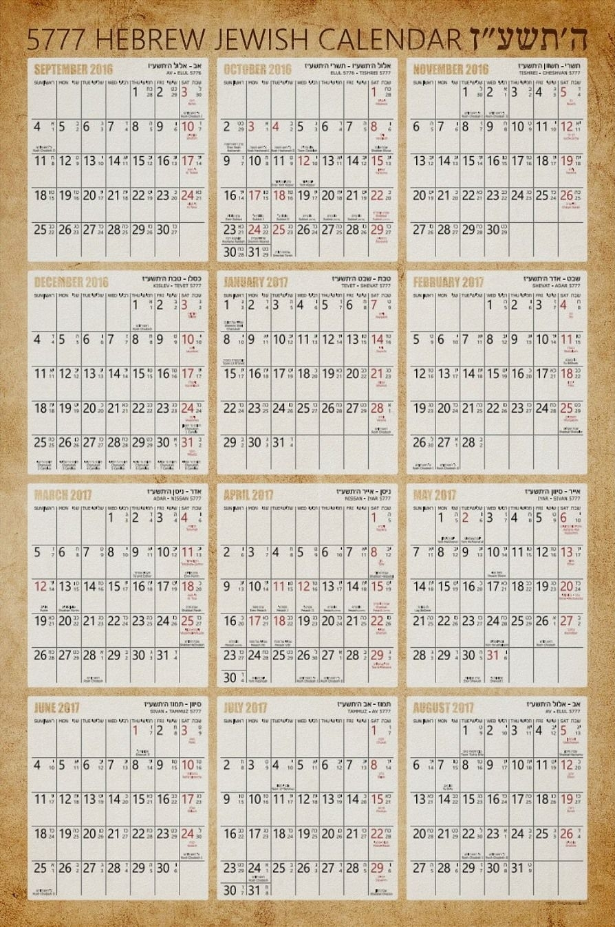 Hebrew Jewish Wall Calendar Poster - Old Paper Background - 2017