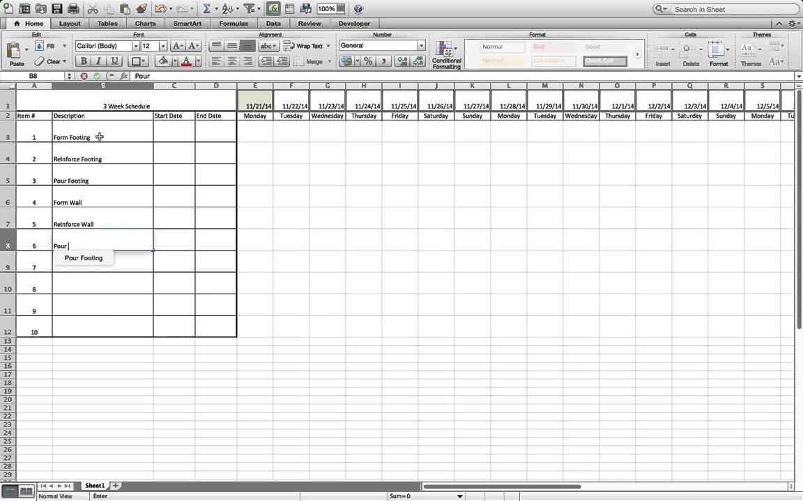 How To Build A Simple Three Week Rolling Schedule In Excel. - Youtube