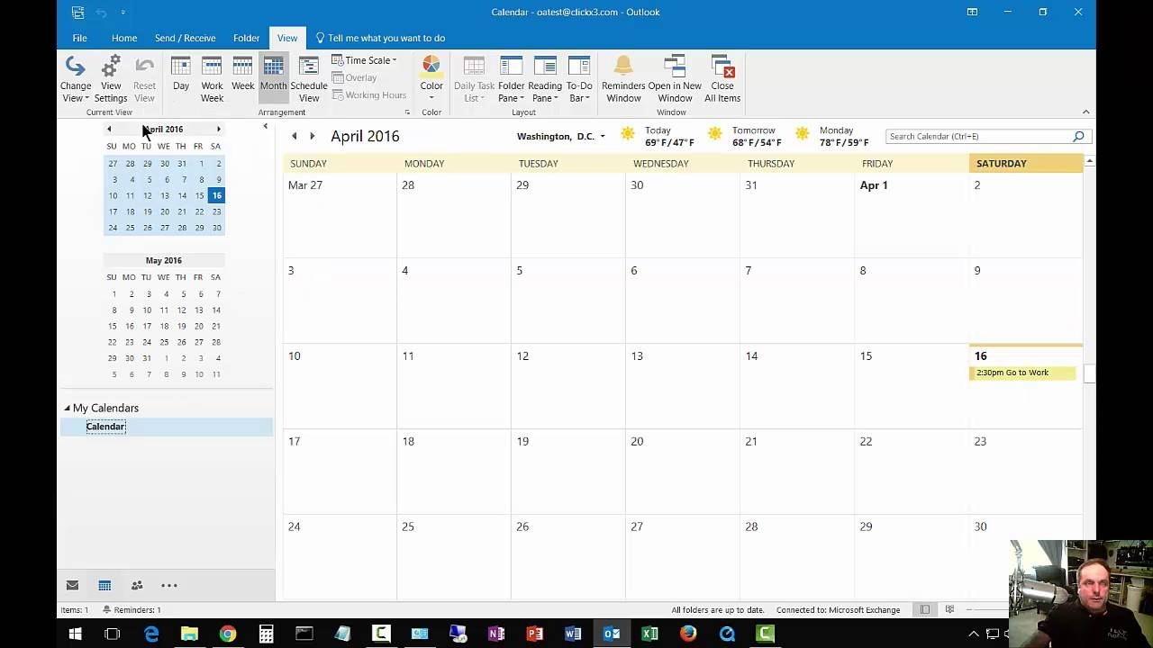 How To Change From List View To Day Calendar In Outlook 2016 - Youtube