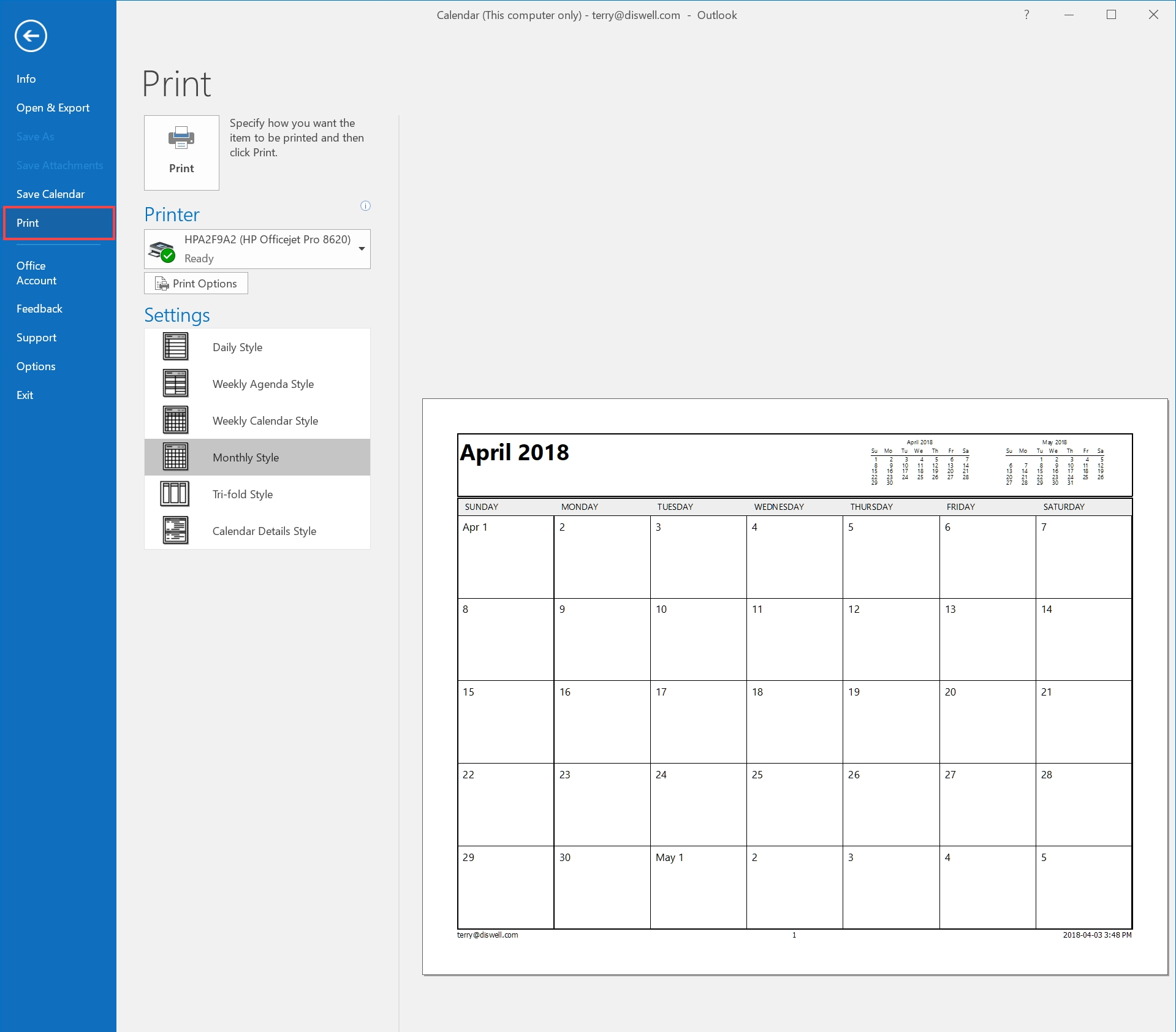 How To Email Or Print Your Calendar In Outlook 2016 - Hostpapa