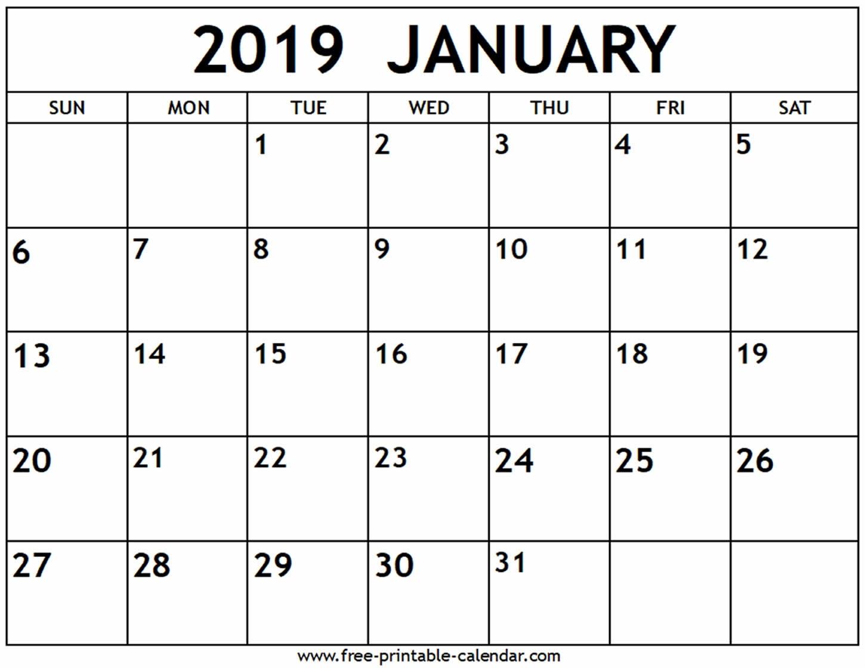 January 2019 Calendar - Free-Printable-Calendar