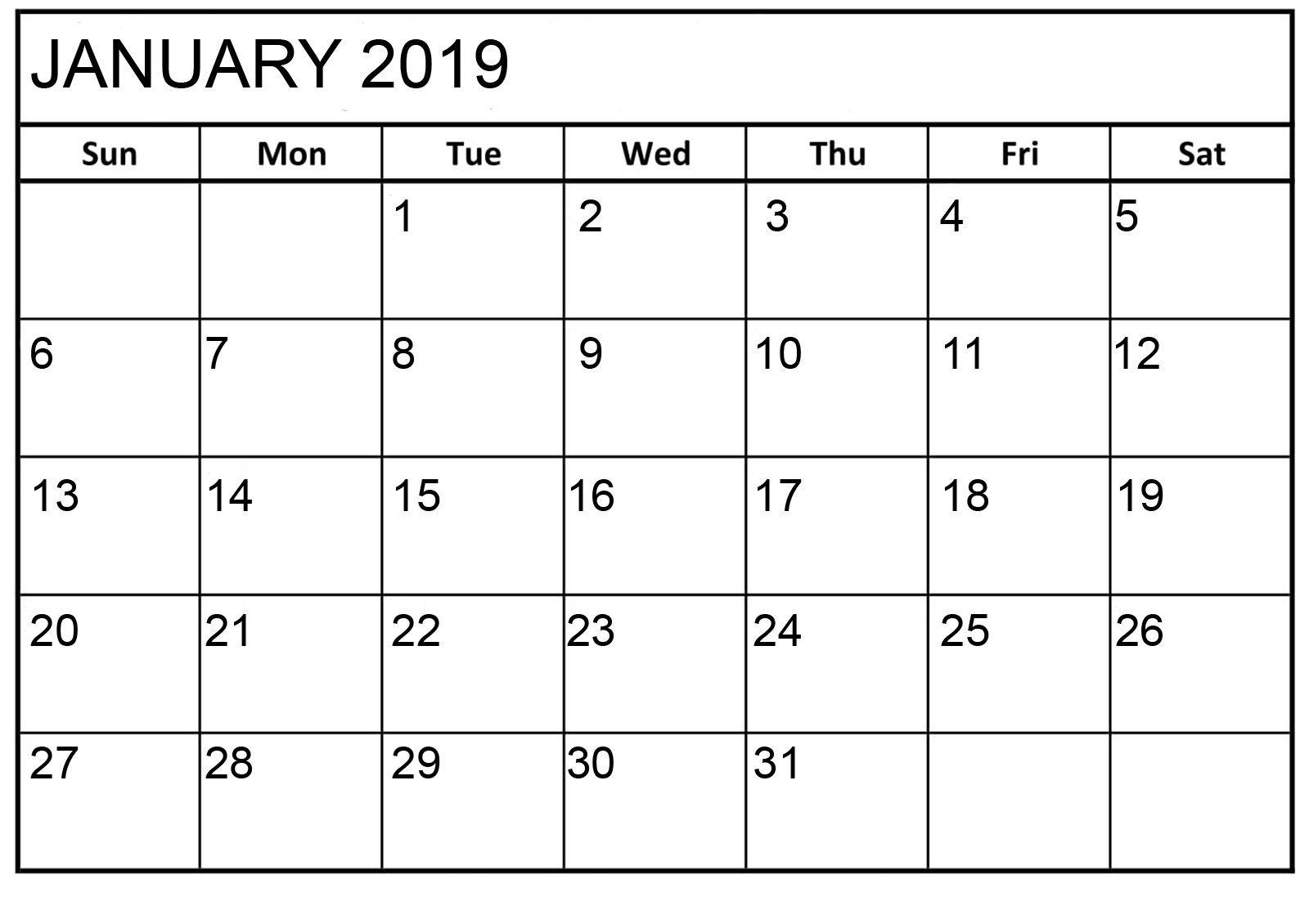 January 2019 Calendar Printable Html | January 2019 Calendar
