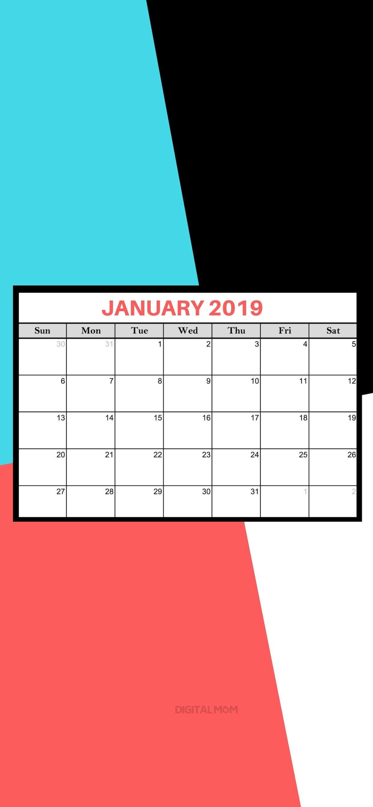 January 2019 Calendars For Print, Desktop Wallpaper & Iphone Background