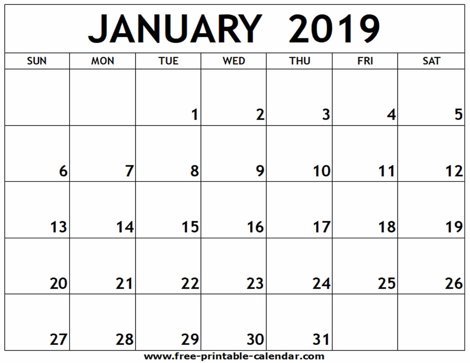 January 2019 Printable Calendar - Free-Printable-Calendar