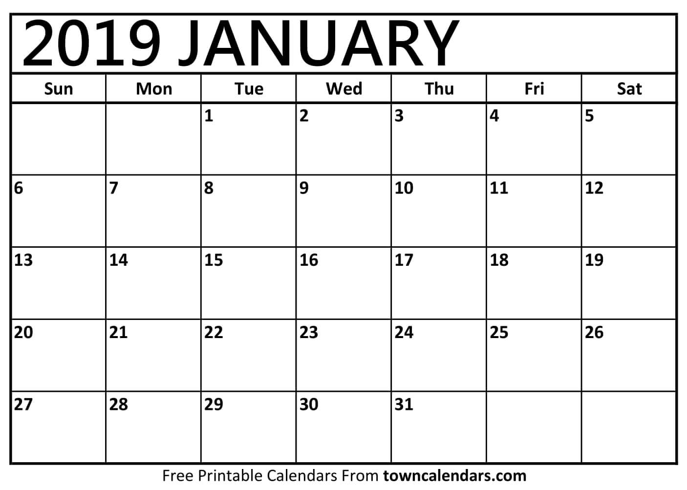 January 2019 Printable Calendar Pdf Free Monthly Template