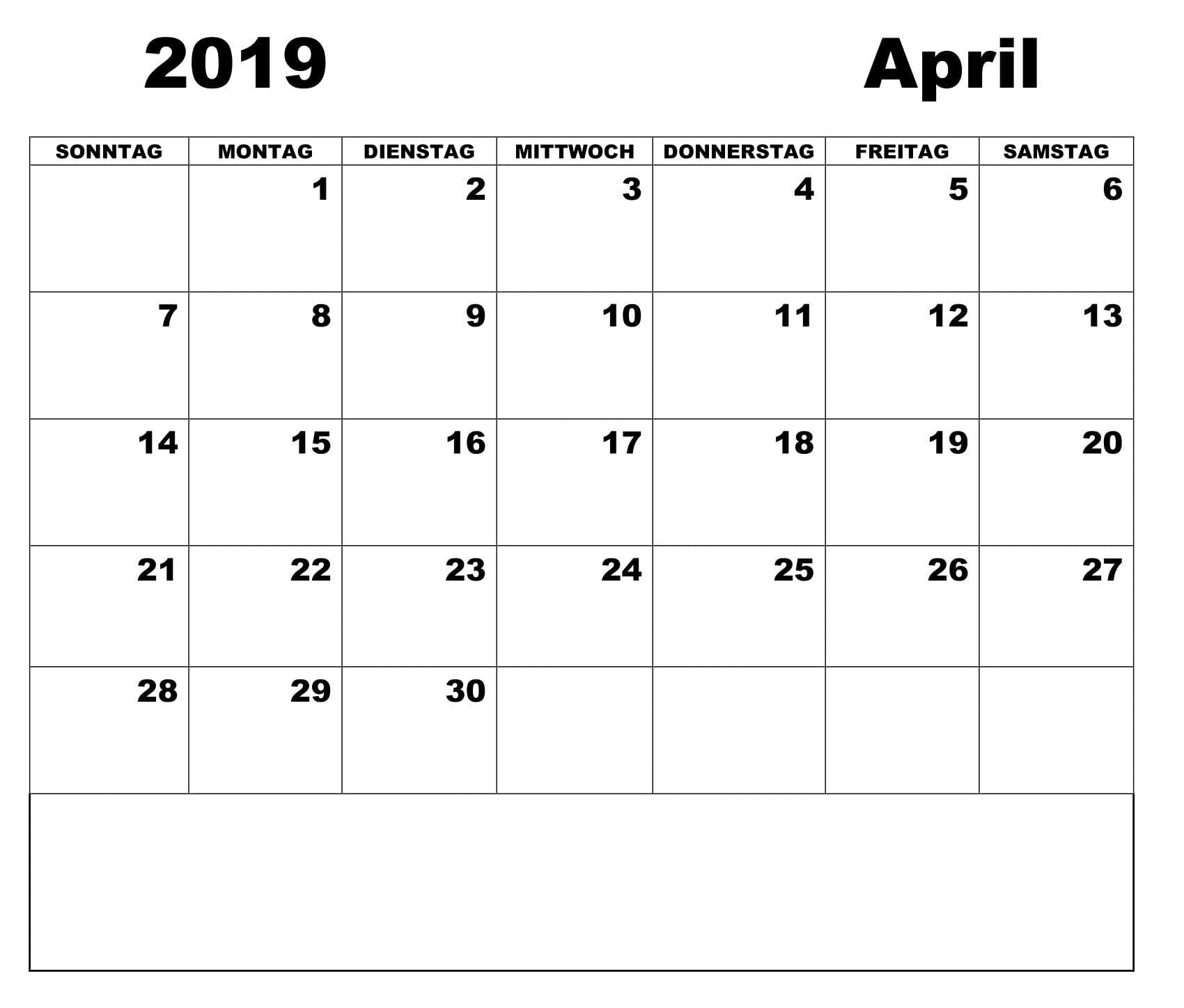 Kalender April 2019 Zum Ausdrucken | Kalender April 2019 | Calendar