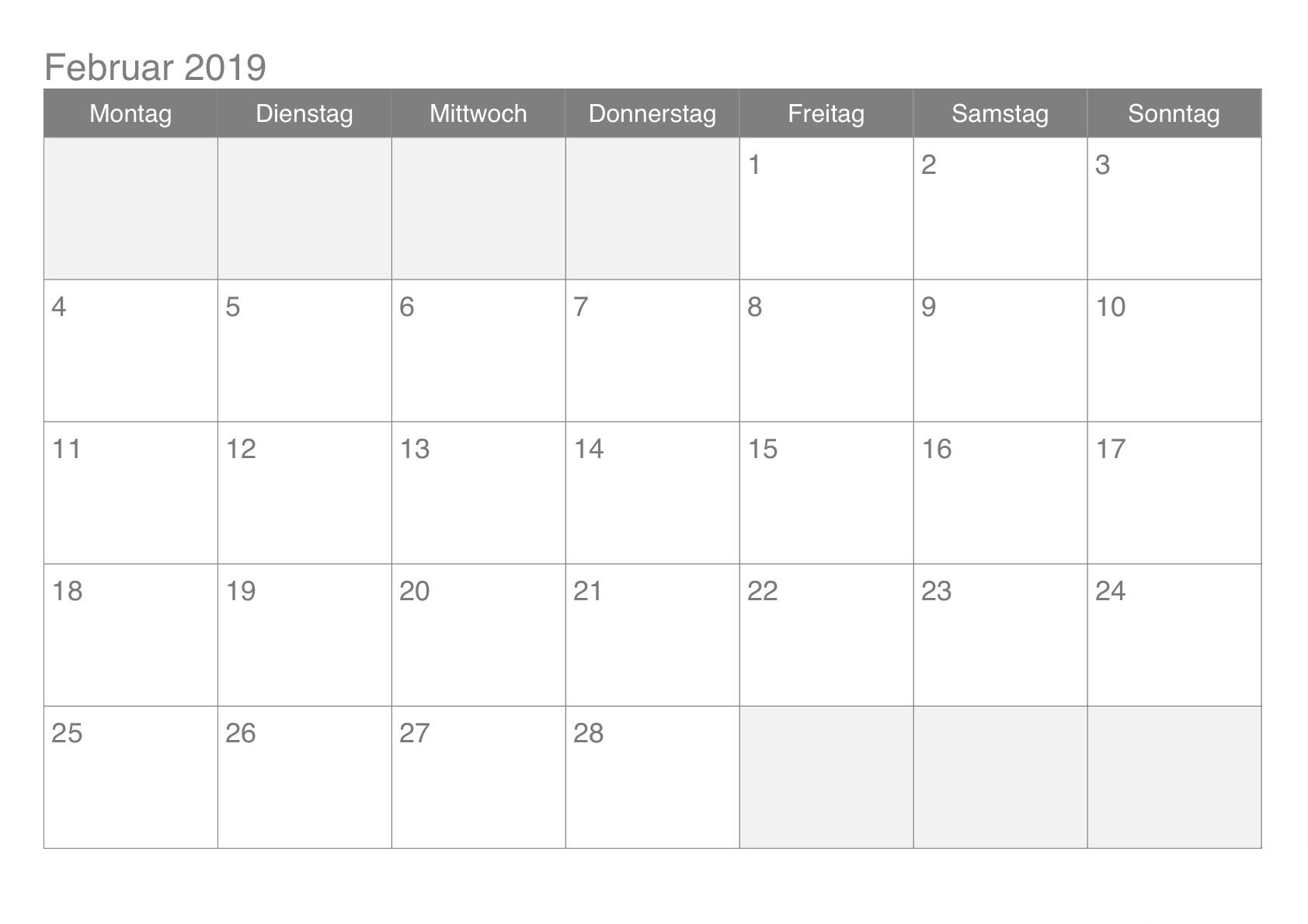 Kalender Februar 2019 Zum Ausdrucken | Kalender Februar 2019 Zum
