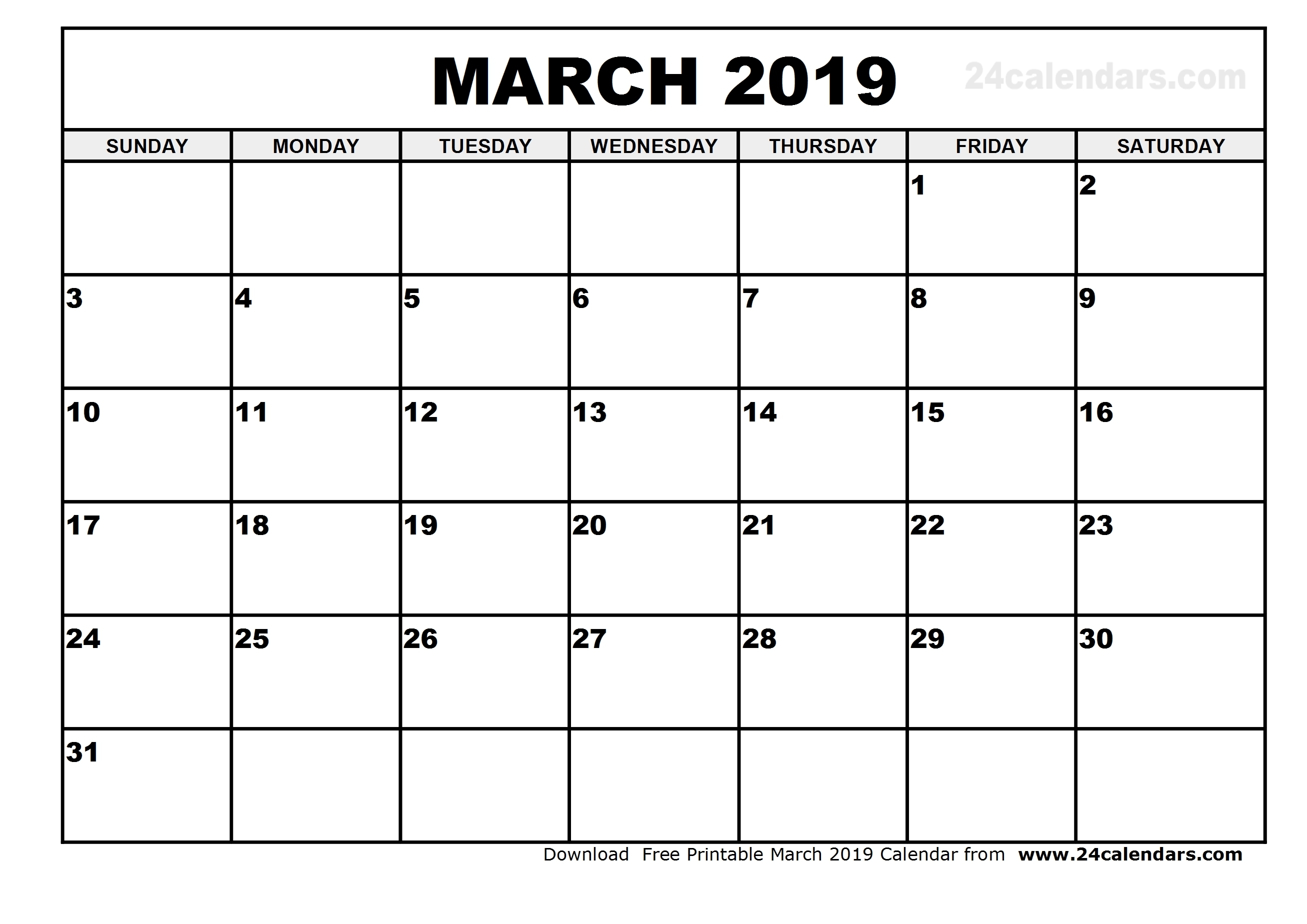 March 2019 Printable Calendar | 2018 Yearly Calendar