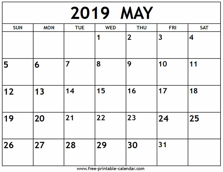 May 2019 Calendar - Free-Printable-Calendar