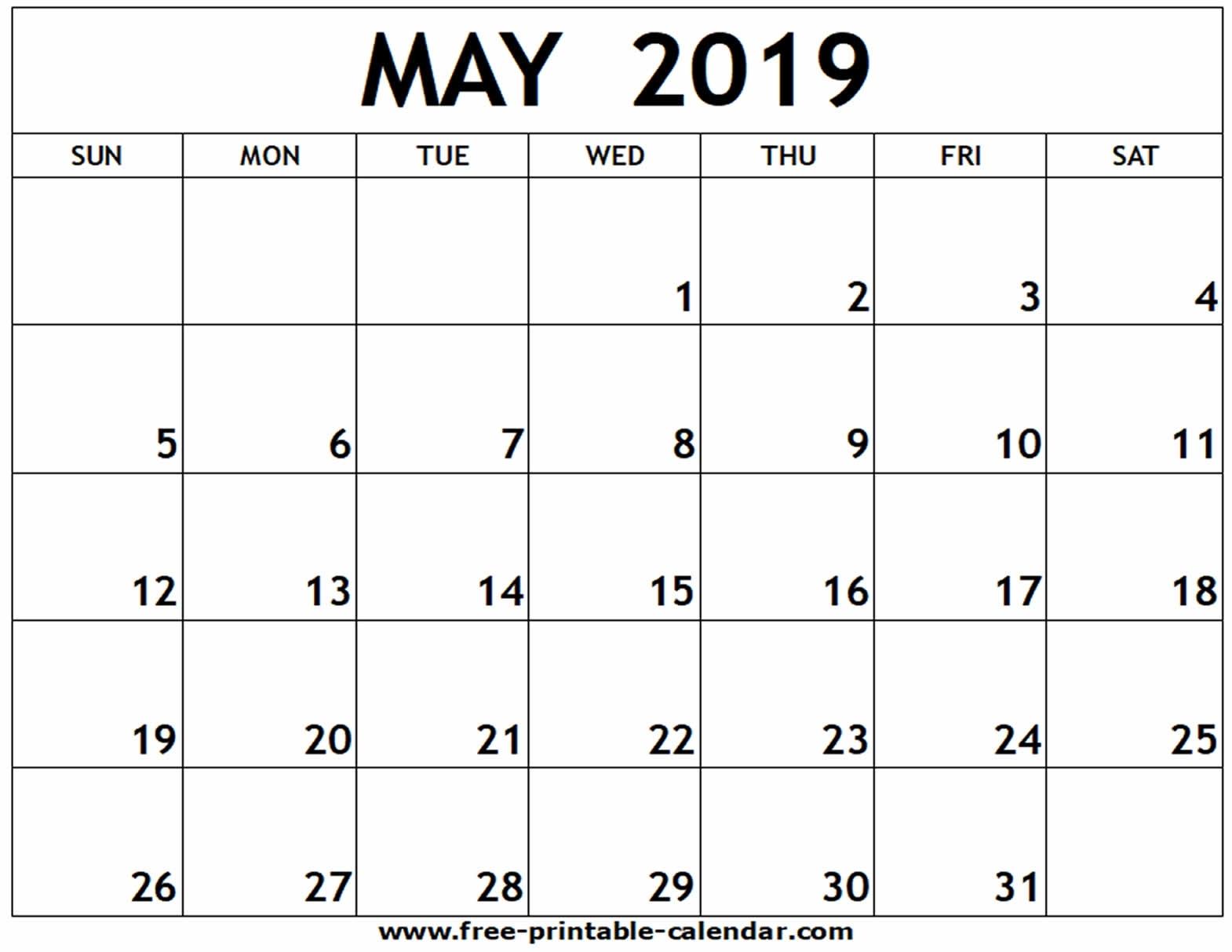 May 2019 Printable Calendar - Free-Printable-Calendar