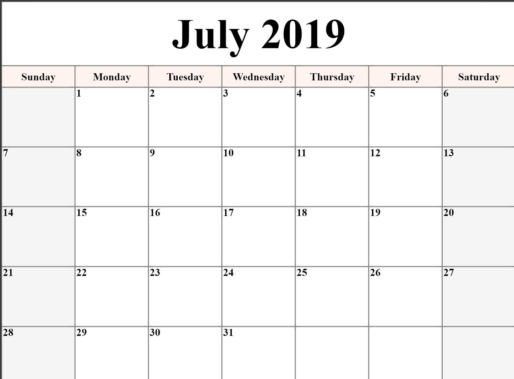 Monthly Calendar July 2019 Printable • Printable Blank Calendar Template