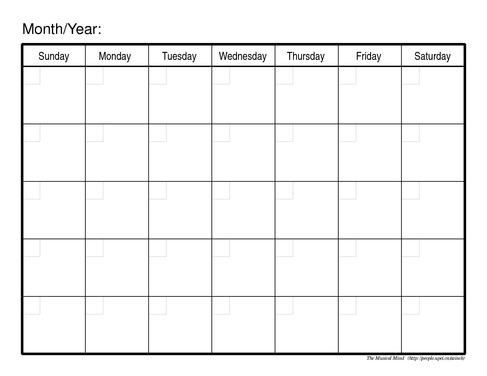 Monthly Calendar Template | Organizing | Blank Monthly Calendar
