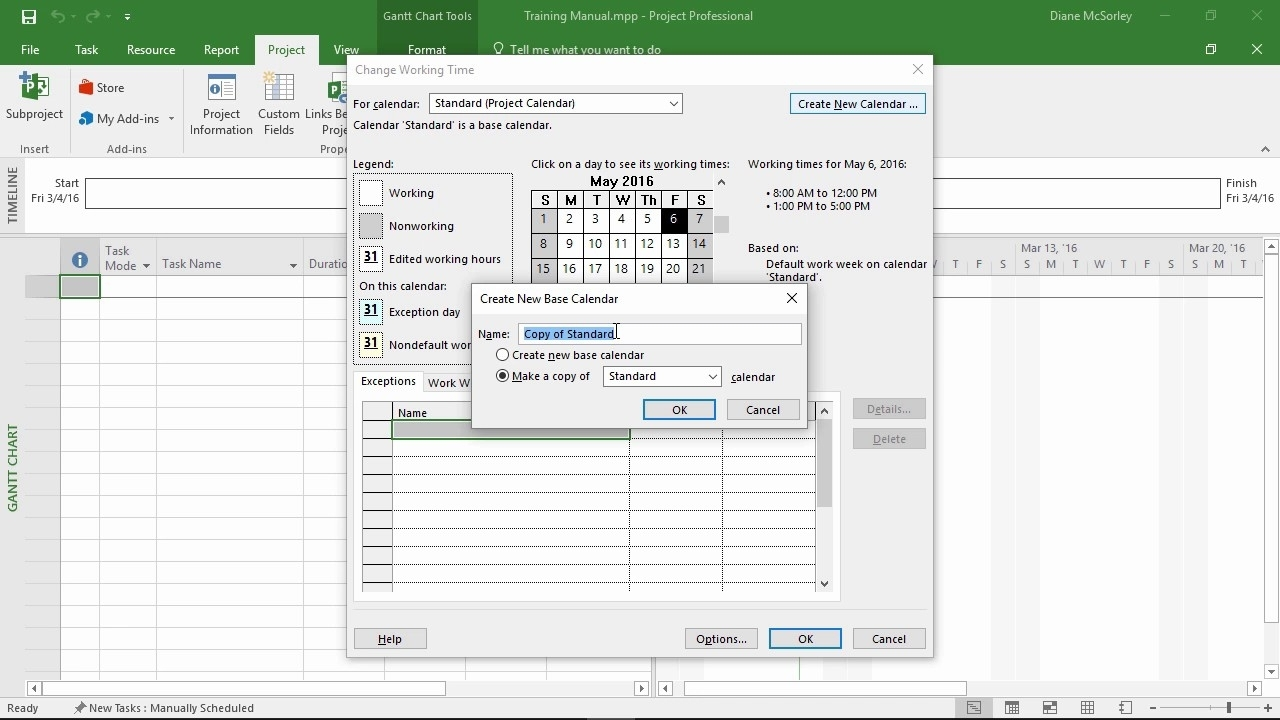 Ms Project 2016 - Create A Project Calendar - Youtube