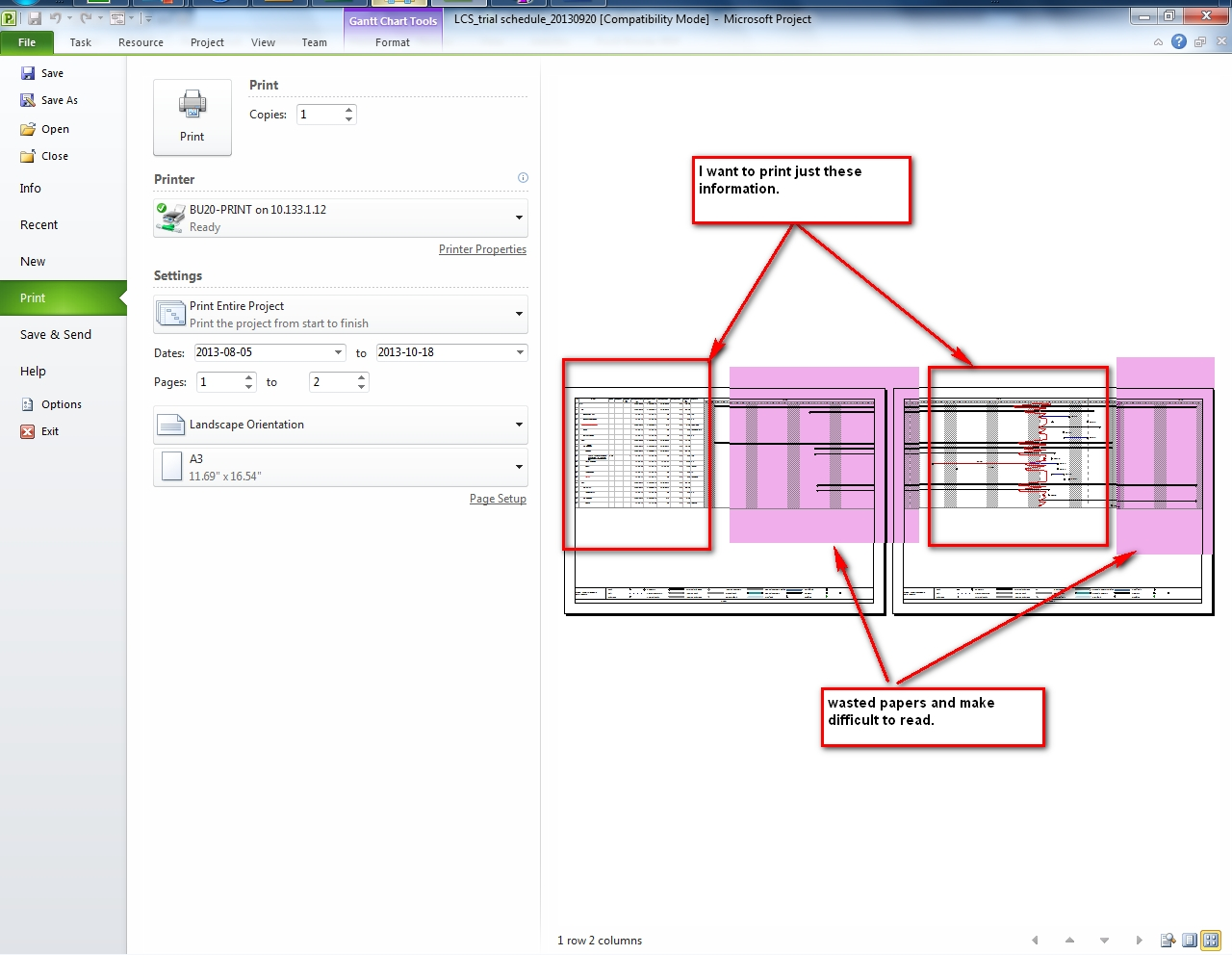 Ms Project - How To Print Task List & Gantt Chart From A Specific