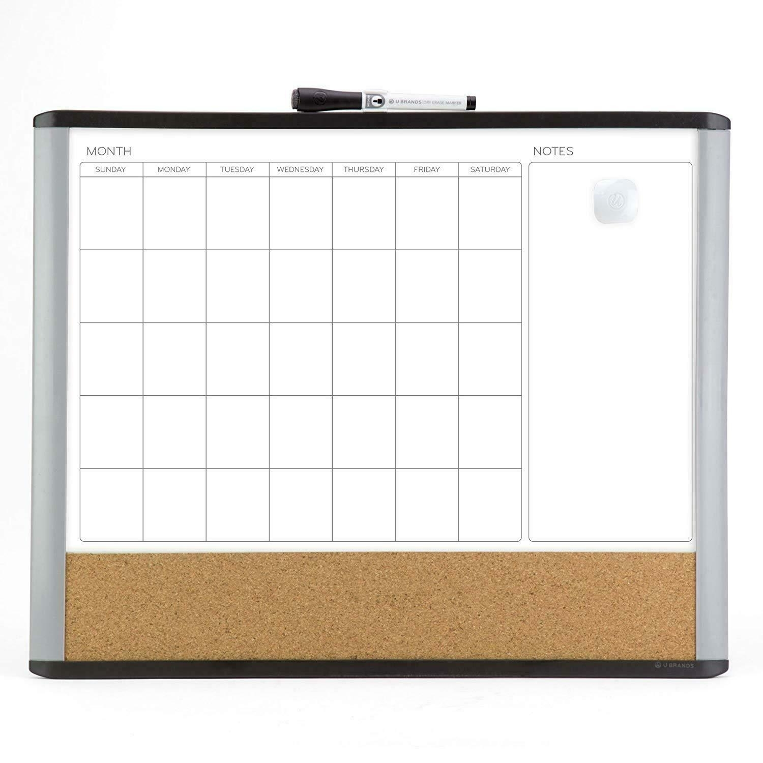 New Cork Board Wall Monthly Time Planner Whiteboard Magnetic Dry